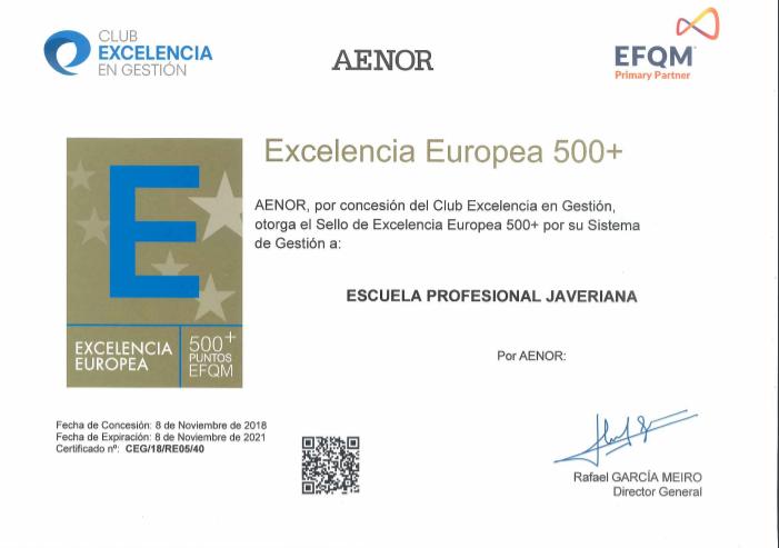 Hemos obtenido 500+ en EFQM