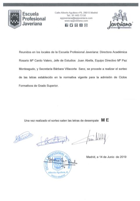 Admisión Grado Superio Escuela Profesional Javeriana